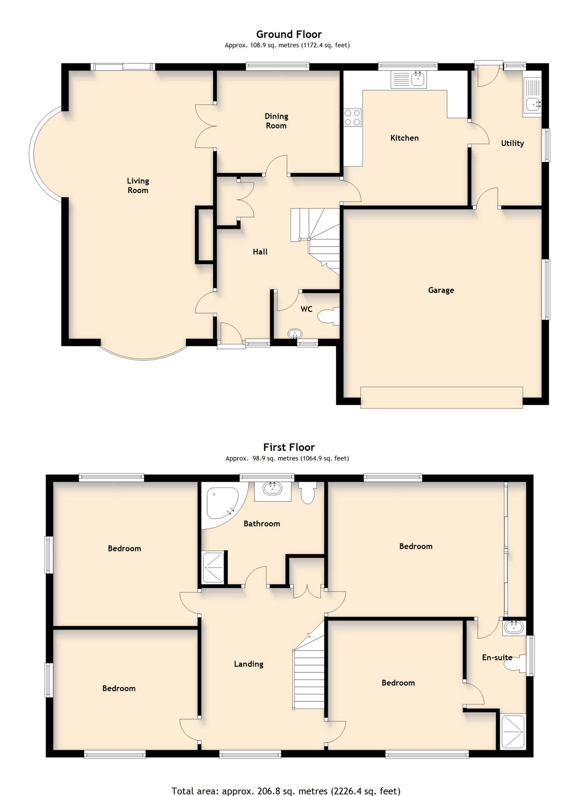 Floor plan for 4 Bedroom, Chatteris Close, Meir Park